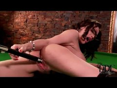 Leather boots beauty sex with pool cue