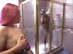 Black girl sucks monster black dick in shower