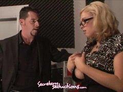 Katie Kox and Jack Vegas lewd office stuffing