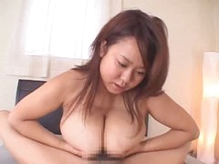 Titjob from chubby Japanese gal makes him cum