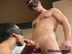 Masked men suck cock and group-sex wazoo
