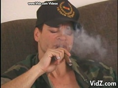 Hot military fellow smokes and gets cock sucked