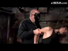 Brunette Angel In Stockings Spanked Getting Tied Up Sucking Cock In The Dungeon