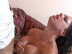 Angela Aspen uses her heavy love bubbles to titty fuck her stud partner here, getting on her knees and blowing his schlong until the load is popping right onto her tongue.  This Babe desperately wants to smack that sweet cream and works it to the finish.