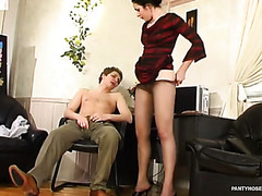 Excited lady-boss willing to give a raise after sexy muff-diving through her hose