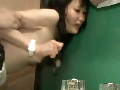 It is a taut fit in this bathroom, and a taut fit in her pussy.  But this pair manages to fuck in several different positions, and lastly this chab leaves his hot cum inside her, a worthy creampie for us to see.
