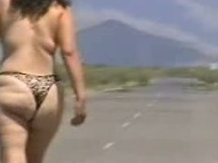 Out in the open desert walking in the midst of a highway with merely a g-string covering her big gazoo body. In this public sex video u can see this aged bitch walk naked out in the open and flaunt her big fucking ass.
