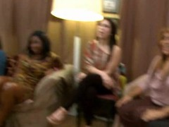 Lewd drunk gals letting loose at a party with the dancing bear crew