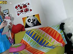 The horny Panda found this time a angel obsessed with him! This beauty has a poster with panda on the wall and draws a picture of him now. She's so slutty and cheerful that lastly panda visited her but does she knows what his intentions are? Well she maybe a bit innocent and stupid but that's how panda likes it!