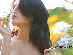 Luiza smells the flowers and acts gentle, just like a lady should. This chick loves nature and relaxes in the midst of it with her boy. Luiza approaches, sits on top of the man and begins giving a kiss him tender. Look at her butt, so taut and firm, just like her tits are. This chick forgets about the flowers and starts engulfing cock.