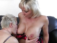 2 sexy mature blondes are sexually excited and willing to have intensive sex. One of them licks the other ones breasts and sucks her nipples in advance of getting down on her hairless snatch while this babe rubs her pussy. Now one of the sluts takes a raunchy toy, a vibrator more exactly and the other one prepare herself for a unfathomable penetration, spreading her legs and offering her sexy hairless cunt.