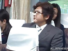 The cute asian schoolgirl got the wrong chair, or perhaps the right one 'cuz she is sitting near a pervert. The chap doesn't cares that the buss is filled with people, he just takes out his jock and puts her to jerk him. It looks like the schoolgirl is not so sinless 'cuz this little bitch masturbates too!