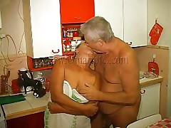 Have a fun watching this old pair having concupiscent couch sex. The old stud delights himself with this granny, giving a kiss her and then this guy receives a short blowjob from her. She takes his wrinkled penis between her lips and gives it a hard suck. If that babe wears a denture that doesn't mean granny can't engulf penis anymore!