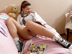 Here young chick Klara is entertaining her viewers by showing her nice, smooth and attractive body with hot milk shakes and cherry like hard nipples on the top of those. Then her lust increases and her pants automatically goes off and a appealing twat fingering is taking place which will make u horny.
