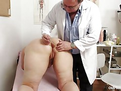 Yvonne is at gynecologist completely naked and waits for the doctor to examine her body. She's a bit bulky but that means there's a lot greater amount to love as the doctor carefully and gently inserts a medical tool in her hot hairless dark hole and then this chab gapes her hairless vagina looking inside her pink pussy, that cunt is perfect for a hard dick and maybe the doc will give her some fucking therapy.