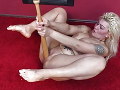 Cuz dildos and hard dicks are not enough anymore I one time used a baseball bat to fuck myself. It felt so nice ripping my pussy with that bat and the only thing I could thought was to stick it deeper in me. Hope u guys have a fun the show and u will stay with me as I have a lot more to play with!
