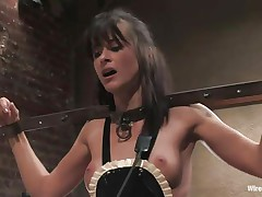 Cecilia Vega has a very hard to please boss in Princess Donna Dolore! Cecilia's hands are bound, this babe has big beads in her cunt attached to wires, and is getting her little titties whipped! They're as red as Princess Donna's dress! After some greater amount whipping, this babe tells Cecilia to dust some more.