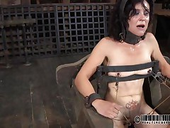 That chair is perfect for miss James. She's naked, thonged on it and a bit terrified with what's about to happen. The executor gapes her cunt using metal clamps and some kind of dildo is filling her womb. The ravishing brunette endures her punishment and step by step she learns to like it!