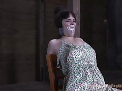 What a nice dress, it goes valuable with the plastic bag on her head and that duct tape. Madisin has some breathing problems and her executor just keeps on pulling that bag on her head. This guy then removes it but keeps her mouth closed with plastic and rubs his cock on her nose. Well now, it seems that excites her!