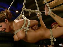 Francesca Le is a sexy milf who's bound and getting vibed and dildo-fucked by Maitresse Madeline. Francesca acquires permission to cum and this babe does. Next the position changes and Maitresse acquires the ding-dong and plunges unfathomable into Francesca's tight asshole, making her groan loudly through her ball gag.
