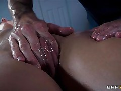 Golden-haired France slut Jessie receives a nice massage and then a unfathomable hard fuck in her ass. The sexy bitch relaxes as the guy massages her shaved twat and smoking sexy hips and then she has a great time with his big hard dick in her ass. Damn this gal likes it anal