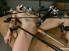 Hot blonde bitch Chastity is all tied up on a table and acquires her cunt fucked by a sex-toy machine. This babe has a vibrator attached to her clitoris, so that she could cum very easily. The speed is increasing and the slut feels better and better. Want to see this whore cumming and moaning with pleasure?