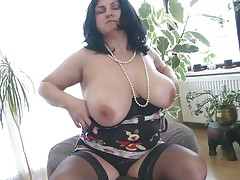 This chubby aged is going insane and definitely in need of some masturbation. So with out wasting any time that babe is revealing her huge boobs and crushing them to make her fur pie wet. After that babe is rubbing her fur pie and fingering it. As soon as is becomes moist that babe is licking her love juice through her hands.