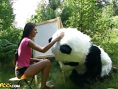 Mr. Panda is outside in the centre of nature and the thin brunette sweetheart that's with him wishes to prove him what an artist this sweetheart is. Well, this sweetheart may not be priceless at painting but this sweetheart surely knows how to make him cheerful by sucking his big panda cock. Stay with 'em and have a fun the wilderness of the forest and much more