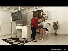 Kicsi was a bad boy and fooled around in the classroom making his teacher very very angry and now that hottie has to castigate him with some spanks on his ass. This stud screams as that hottie does that but this won't softer her, instead it makes the mature teacher horny so that hottie rubs his hard shlong and sucks it worthwhile and slow then offers her pussy to him to lick.