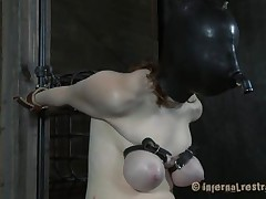 Pale and with a fragile body, this dark brown is the subject of an hardcore s&m session. She's masked and her breathing rationalized, her billibongs are squeezed hard and that tight pussy betwixt her long legs is screwed deeply. Her name is Dixon and that babe reached the human endurance limits, or did she?