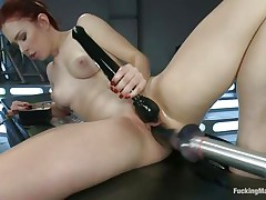 Youthful Melody Jordan is loving this fucking machine and a sex toy for her clit. Her love tunnel takes a pounding as this babe turns the dial up, making the machine fuck her even faster. After a short break, this babe goes nearly upside down to receive drilled, her shaved snatch taking a beating that this babe loves. She's hot!