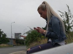 So I spot a hot golden-haired cutie at the bus stop. This Babe didn't realise that the bus that honey was expecting for was going to be some other 45 minute.  I offered her a lift home in my car.  On the way to her abode I offered her a fake job, but that honey must prove how much this honey really wanted the job.