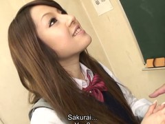 Hawt dark brown hair student Ria Sakurai gets exposed for school principal after the classes and gets her slit stimulated by vibrator in advance of that hottie gives head to him and other professors on her knees and getting gangbanged hardcore in group sex session on the desk