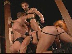 Gay leather guys having intense sex