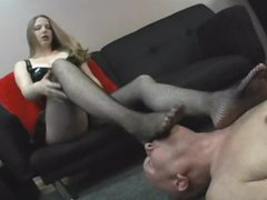 Dominant cutie wants him to lick her feet