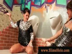 Naughty wet milfs overspread in bukakke ball cream playing with wang from the gloryhole