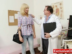 Blonde paris visits wicked old gyno doctor to have her pussy examined