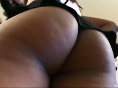 Cute ebon aaliyah jiggles her ass and sucks cock